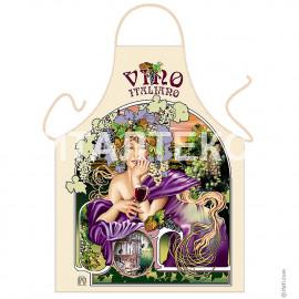 """Прикольный фартук для женщины 57х75 """"ITATI"""" Артикул: Девушка с вином"""