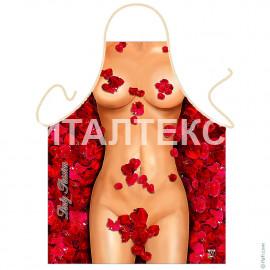 """Прикольный фартук для женщины 57х75 """"ITATI"""" Артикул: Девушка в лепестках роз"""