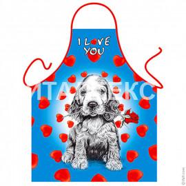 """Детский фартук для кухни 57х75 """"ITATI"""" Артикул: Собака с розой"""