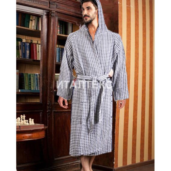 """Вафельный халат с капюшоном """"ONDA BLU"""" Артикул: Нидо Дапе (серый)"""