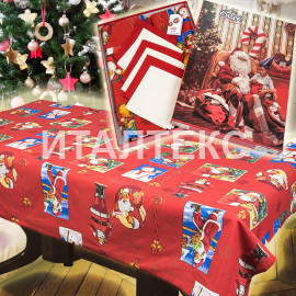 "Скатерть новогодняя с салфетками в коробке 140х240 ""VALLEPIANO"" Артикул: Санта Клаус"