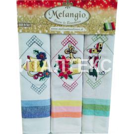 """Кухонные новогодние полотенца в наборе 3 штуки """"MELANGIO"""" Артикул: Спигати 1"""