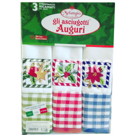 """Кухонные новогодние полотенца в наборе 3 штуки """"MELANGIO"""" Артикул: Аугури 1"""