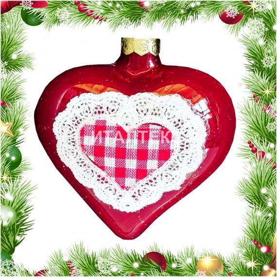 Ёлочное украшение 7 см Артикул: Сердце