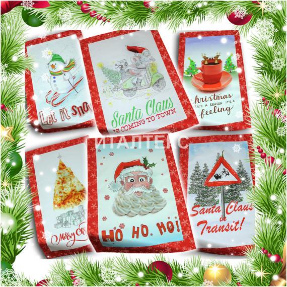 "Кухонные новогодние полотенца в наборе 6 штук ""VINGI RICAMI"" Артикул: Тиффани (Санта Клаус)"