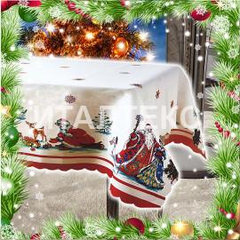 """Новогодняя скатерть с Дедом Морозом и Снегурочкой 140х180 """"CESARE GIORDANO"""" Артикул: Кристмас 3"""