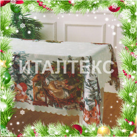 """Новогодняя скатерть с животными 140х240 """"CESARE GIORDANO"""" Артикул: Кристмас 1"""