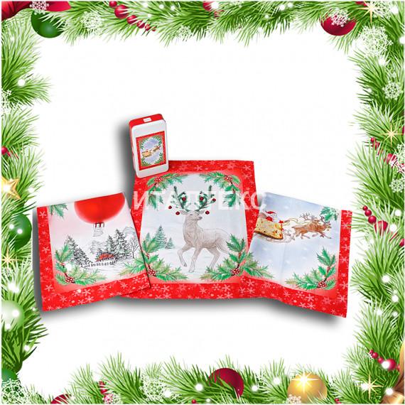 "Кухонные новогодние полотенца в наборе 3 штуки ""VINGI RICAMI"" Артикул: Тиффани (Сани)"