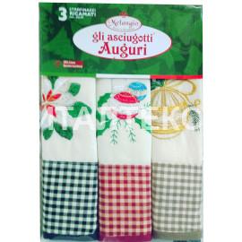 """Кухонные новогодние полотенца в наборе 3 штуки """"MELANGIO"""" Артикул: Аугури 3"""