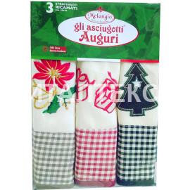 """Кухонные новогодние полотенца в наборе 3 штуки """"MELANGIO"""" Артикул: Аугури 4"""
