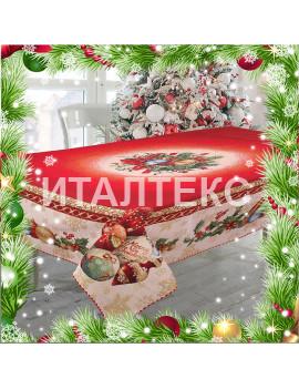 "Новогодняя гобеленовая скатерть с люрексом 140х240 ""VINGI RICAMI"" Артикул: Санта Клаус (Дед Мороз)"