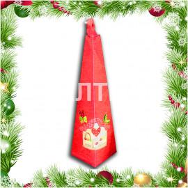 """Круглое новогоднее кухонное полотенце """"VINGI RICAMI"""" Артикул: Жирелла (красный домик) (диаметр 70)"""