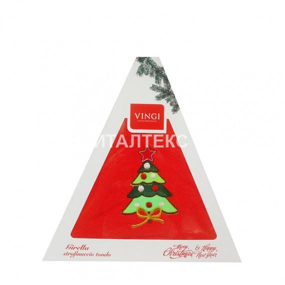 "Круглое новогоднее кухонное полотенце ""VINGI RICAMI"" Артикул: Жирелла 22 (диаметр 70)"