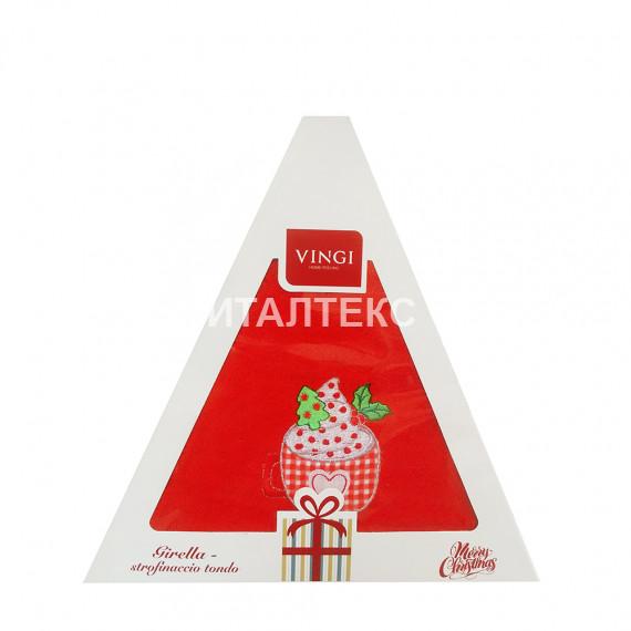 "Круглое новогоднее кухонное полотенце ""VINGI RICAMI"" Артикул: Жирелла 27 (диаметр 70)"