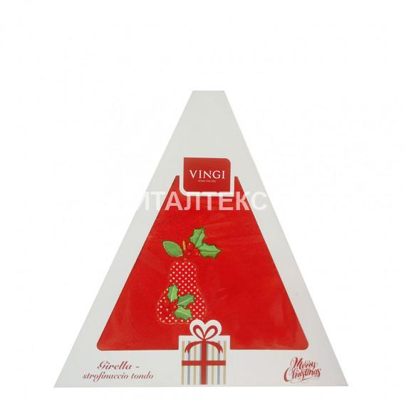 "Круглое новогоднее кухонное полотенце ""VINGI RICAMI"" Артикул: Жирелла 28 (диаметр 70)"