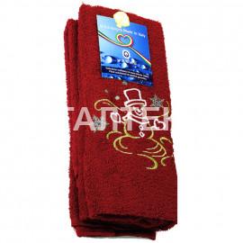 """Набор из двух новогодних махровых полотенец с аппликацией """"ALMATEX"""" Артикул: Натале 11 (снеговик пурга)"""