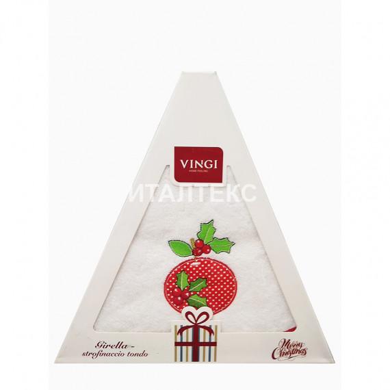 "Круглое новогоднее кухонное полотенце ""VINGI RICAMI"" Артикул: Жирелла 1 (диаметр 70)"