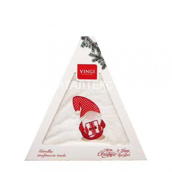 "Круглое новогоднее кухонное полотенце ""VINGI RICAMI"" Артикул: Жирелла 3 (диаметр 70)"