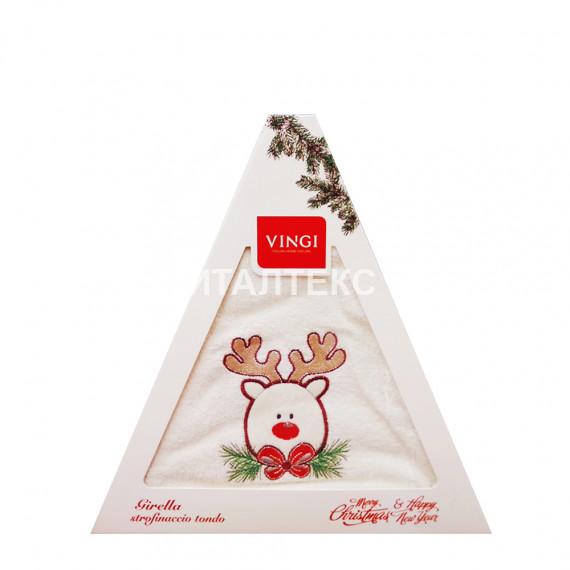 "Круглое новогоднее кухонное полотенце ""VINGI RICAMI"" Артикул: Жирелла 5 (диаметр 70)"