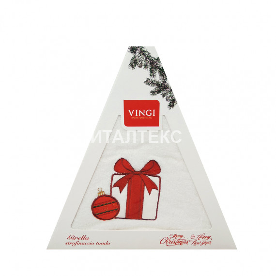 "Круглое новогоднее кухонное полотенце ""VINGI RICAMI"" Артикул: Жирелла 6 (диаметр 70)"