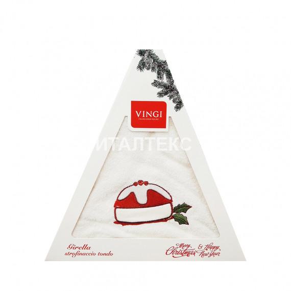 "Круглое новогоднее кухонное полотенце ""VINGI RICAMI"" Артикул: Жирелла 9 (диаметр 70)"