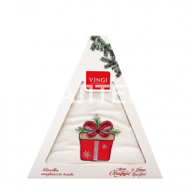 "Круглое новогоднее кухонное полотенце ""VINGI RICAMI"" Артикул: Жирелла 11 (диаметр 70)"