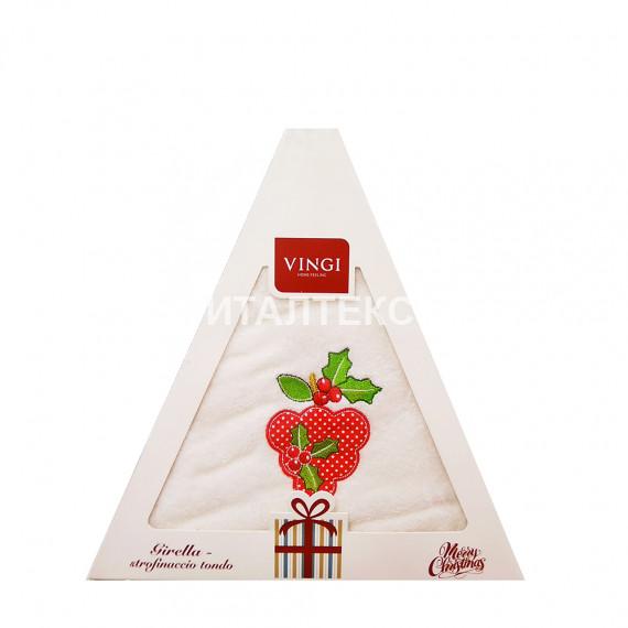 "Круглое новогоднее кухонное полотенце ""VINGI RICAMI"" Артикул: Жирелла 15 (диаметр 70)"