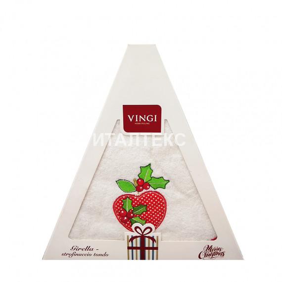"Круглое новогоднее кухонное полотенце ""VINGI RICAMI"" Артикул: Жирелла 16 (диаметр 70)"