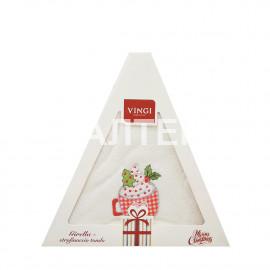 "Круглое новогоднее кухонное полотенце ""VINGI RICAMI"" Артикул: Жирелла 21 (диаметр 70)"