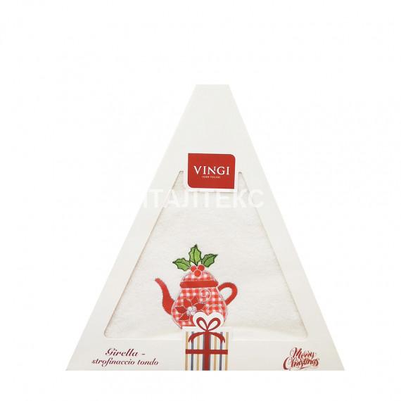 "Круглое новогоднее кухонное полотенце ""VINGI RICAMI"" Артикул: Жирелла 24 (диаметр 70)"