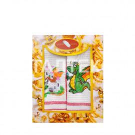 """Набор из двух вафельных новогодних полотенец 40х60 с вышивкой """"GRAND TEXTIL"""" Артикул: Мульти 9"""