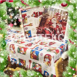 "Скатерть новогодняя с салфетками в коробке 140х180 ""VALLEPIANO"" Артикул: Санта Клаус"