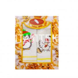 """Набор из двух вафельных новогодних полотенец 40х60 с вышивкой """"GRAND TEXTIL"""" Артикул: Мульти 11"""
