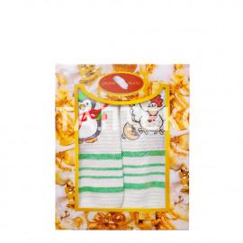 """Набор из двух вафельных новогодних полотенец 40х60 с вышивкой """"GRAND TEXTIL"""" Артикул: Мульти 12"""