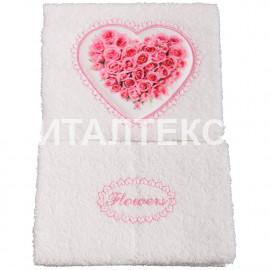 "Набор из двух махровых полотенец в коробке ""ALMATEX"" Артикул: Флауэрс (розовый)"