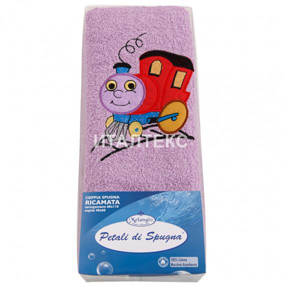 """Детские махровые полотенца в наборе 2 штуки """"MELANGIO"""" Артикул: Дисней (Паровозик)"""