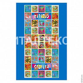 """Тонкое сувенирное пляжное полотенце 60х90 """"ITATI"""" Артикул: Сицилия"""