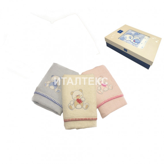 "Детские махровые полотенца в наборе 2 штуки ""VINGI RICAMI"" Артикул: Тедди (мишка)"