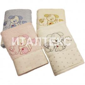 """Детские махровые полотенца в наборе 2 штуки """"VINGI RICAMI"""" Артикул: Полли (собачка)"""
