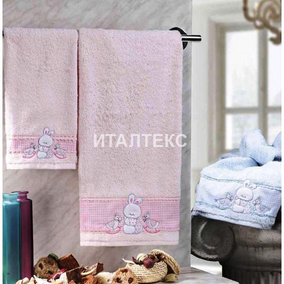 """Детские махровые полотенца в наборе 2 штуки """"VINGI RICAMI"""" Артикул: Флиппер (зайчик)"""