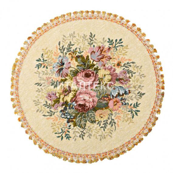 "Круглая гобеленовая салфетка ""TEX GAL"" Артикул: Аврора (мелкий цветок) (диаметр 45)"