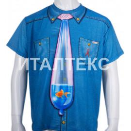 """Прикольная мужская футболка с сюрпризом """"ITATI"""" Артикул: Галстук с рыбкой"""