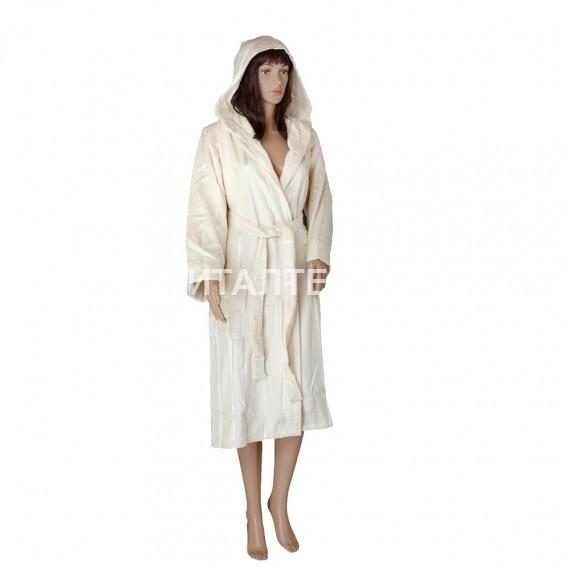 """Велюровый женский махровый халат с капюшоном """"SERGIO ROSSI"""" Артикул: СХ-П 6"""